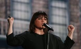 Lisa Angell chante en finale de l'Eurovision, à Vienne (Autriche), le 23 mai 2015.