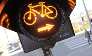 Tourne-à-droite pour cycliste à Strasbourg. (Illustration)