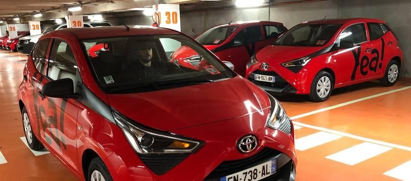 Une voiture du réseau Yea d'autopartage en free floating lancé par Citiz à Rennes.