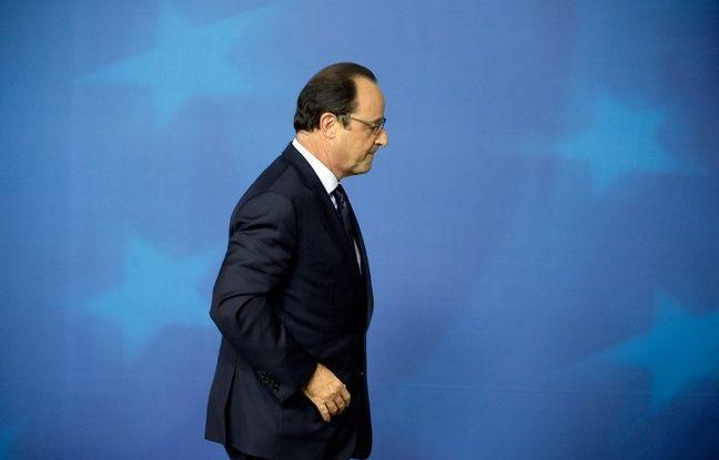 François Hollande après une conférence de presse à Bruxelles, le 24 octobre 2014.
