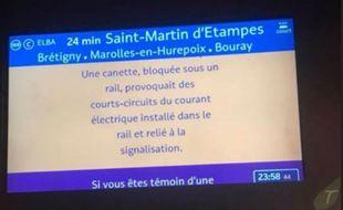 Une canette affecte l'alimentation électrique du RER C.