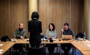 Grace Meng, l'épouse de l'ancien directeur d'Interpol, s'est exprimé devant les journalistes, à Lyon, le 7 octobre 2018, dans les bureaux d'Interpol.
