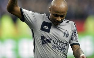 Marseille's forward Andre Ayew celebrates after scoring the 3rd goal during the French L1 football match RC Lens vs Olympique Marseille (OM) at the Stade de France in Saint-Denis, FRANCE - 22/03/2015. Marseille won the game 4-0./JEE_lensom.29/Credit:J.E.E./SIPA/1503231954