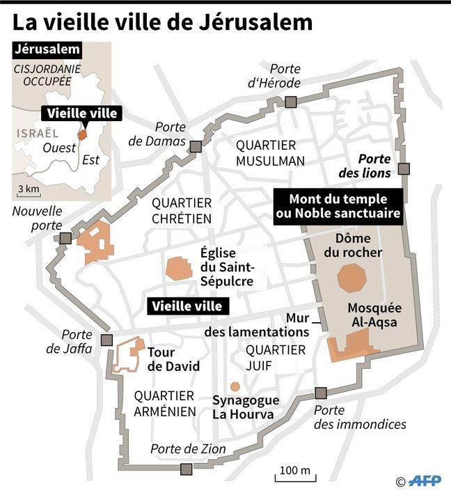 Carte de la vieille ville de Jérusalem au cœur des tensions religieuses.