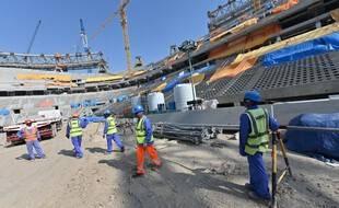 Des ouvriers sur les chantiers à Doha.