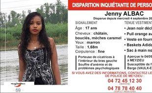 La police du Rhône lance un appel à témoins pour retrouver cette adolescente disparue depuis le 4 septembre.