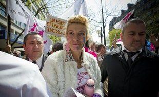 Le 21 avril 2013. La manif pour tous manifeste a Paris contre le mariage des homosexuels. Le cortege, avec a sa tete Frigide Barjot, est parti de la place Denfert-Rochereau pour rejoindre l'esplanade des Invalides.