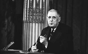 Le général de Gaulle lors d'une conférence de presse en avril 1961