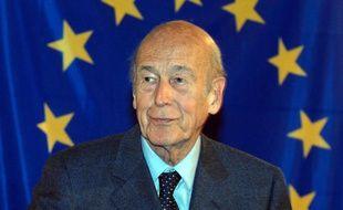 Valéry Giscard d'Estaing, promoteur d'une constitution pour l'Europe, le 23 mai 2005 à Clermont-Ferrand