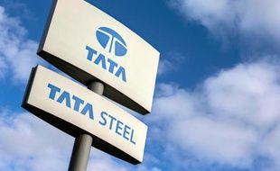 Un panneau de l'entreprise sidérurgique Tata Steel à Scunthorpe, dans le nord-est de l'Angleterre, le 17 octobre 2015