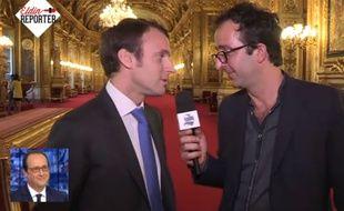 Emmanuel Macron et Cyril Eldin, du Supplément.