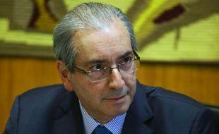 Eduardo Cunha dans son bureau à l'Assemblée nationale le 15 octobre 2015 à Brasilia