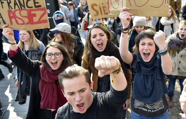 Manifestants contre la loi Travail à Nantes.