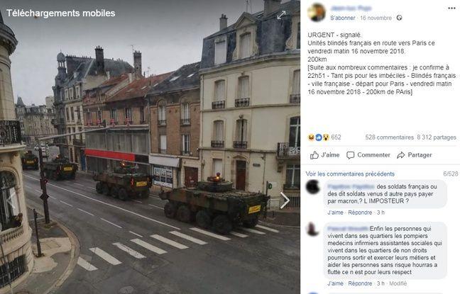 Le post Facebook viral qui s'alarme du passage de blindés.