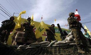 Des membres du Hezbollah chiite libanais, le 24 mai 2015 à Nabatiyeh