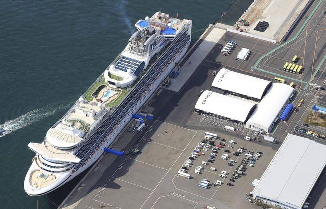 Le paquebot «Diamond princess», à Yokohama, placé en quarantaine pour cause de coronavirus à bord.