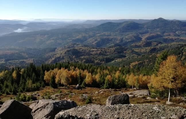La vue sur la haute vallée de la Bruche depuis le sommet du Rocher de Mutzig. Illustration
