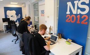 Le local de l'équipe de Nicolas Sarkozy, dans son QG de campagne.
