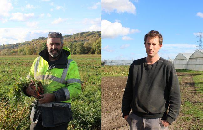 Xavier Dupuis et Fabien Frémin, agriculteurs biologiques installés sur la ferme de la Haye.