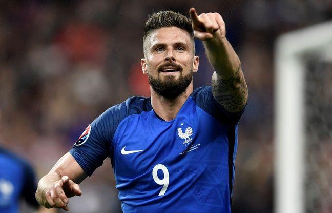 Olivier Giroud, l'attaquant de l'équipe de France, le 3 juillet 2016, contre l'Islande.