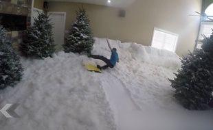 Glisser sur de la neige dans un salon, le grand luxe.