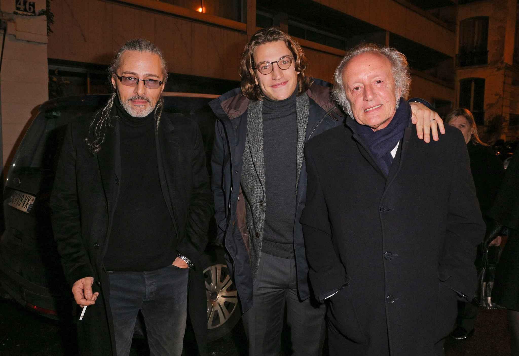 (L-R) The millionaire philanthropist Jean-Baptiste Descroix-Vernier, Jean Sarkozy and Didier Barbelivien leave the Nicolas Sarkozy's birthday party in Paris. France, January 30, 2015./PLV_1322.01/Credit:PLV/SIPA/1501311341