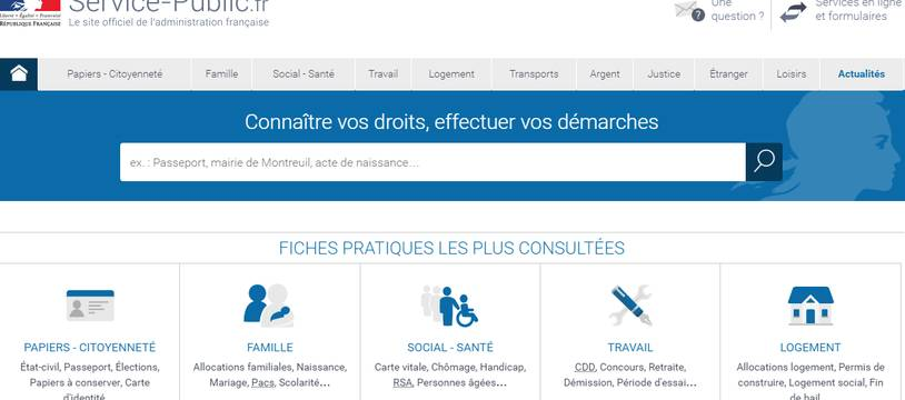 Capture d'écran du site officiel service-public.fr.