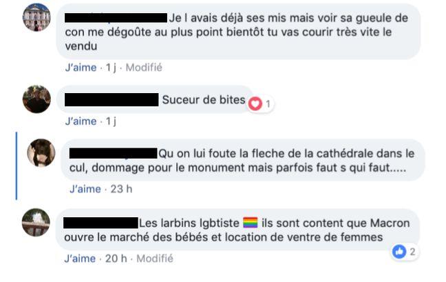 Une partie des insultes et menaces reçus par Loïc Branchereau sur Facebook.