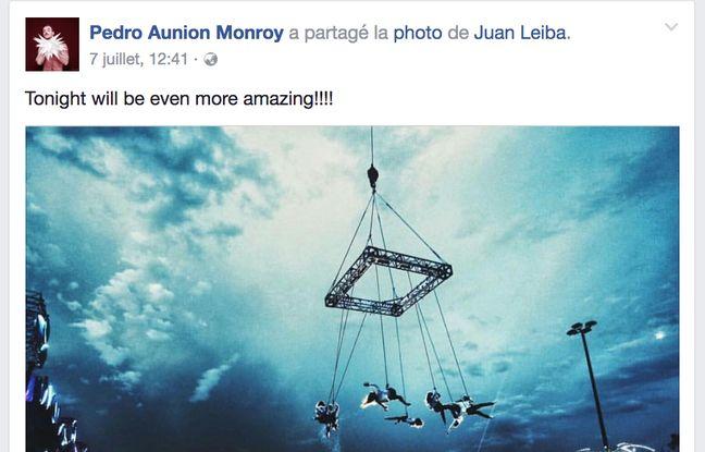 Capture d'écran du dernier post de Pedro Aunion Monroy sur sa page Facebook.