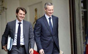 Francois Baroin, alors ministre du Budget, et Bruno le  Maire, ministre de l'Agriculture, à la sortie du Conseil des ministres à l'Elysée, le 27 octobre 2010.