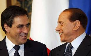 François Fillon rencontre Silvio Berlusconi au palais Chigi à Rome (Italie), le 19 septembre 2008.