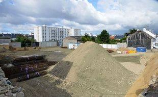 Le chantier où a été retrouvée la bombe à Saint-Nazaire.