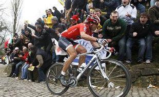Le Suisse Fabian Cancellara, vainqueur du Tour des Flandres 2010, le 5 avril 2010, à Meerbek.