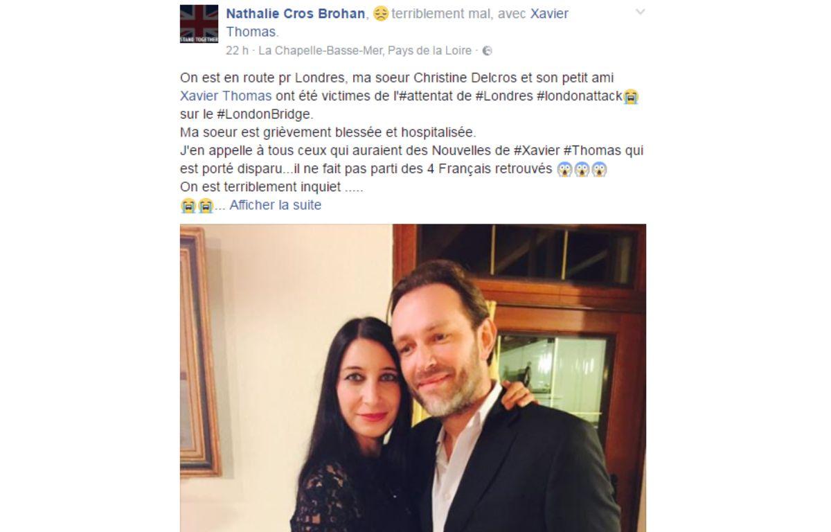 Le post Facebook de Nathalie Cros Brohan. – Capture écran