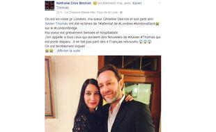 Le post Facebook de Nathalie Cros Brohan.