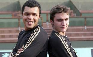 Jo-Wilfreid Tsonga et Gilles Simon (à droite) à Roland-Garros, le 4 novembre 2008.