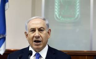 Israeli Prime Minister Benjamin Netanyahu chairs the weekly cabinet meeting in his office in Jerusalem, Sunday, July 6, 2014. Prime Minister Benjamin Netanyahu on Sunday said Israel would act calmly and responsibly in the face of rising Israeli-Palestinian hostilities, just hours after Israel's military carried out airstrikes on 10 sites in the Gaza Strip. (AP Photo/Gali Tibbon, Pool)/CAITH107/796410209176/POOL PHOTO/1407061104