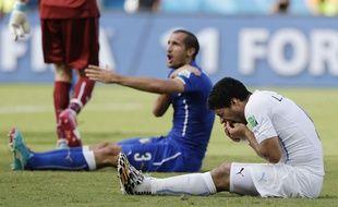 Luis Suarez et Giorgio Chiellini lors d'Italie-Uruguay le 24 juin 2014.