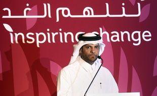 Le patron de l'olympisme du Qatar Sheikh Saoud bin Abdulrahman Al-Thani lors d'une conférence de presse à Doha, le 20 février 2012.