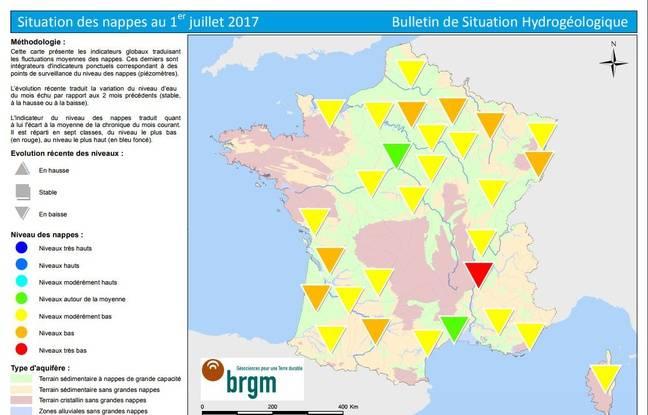 La carte de France de l'état des nappes d'eau au 1er juillet 2017.