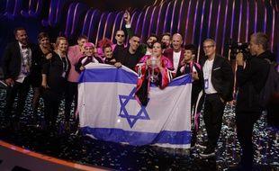 La délégation israélienne victorieuse de l'Eurovision 2018, le 14 mai à Lisbonne.