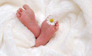 Un bébé dans son berceau (illustration) .
