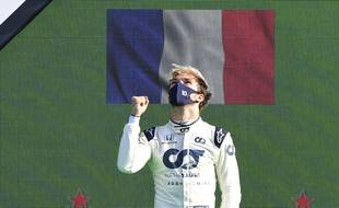 AlfaTauri driver Pierre Gasly of France celebrates on the podium after winning the Formula One Grand Prix at the Monza racetrack in Monza, Italy, Sunday, Sept.6 , 2020.