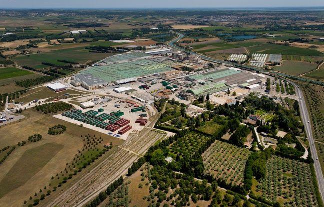 L'usine de Perrier vue du ciel, à Vergèze.