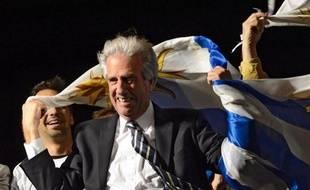 Tabaré Vazquez, candidat du Frente Amplio, élu à la présidence de l'Uruguay, le 30 novembre 2014 à Montevideo