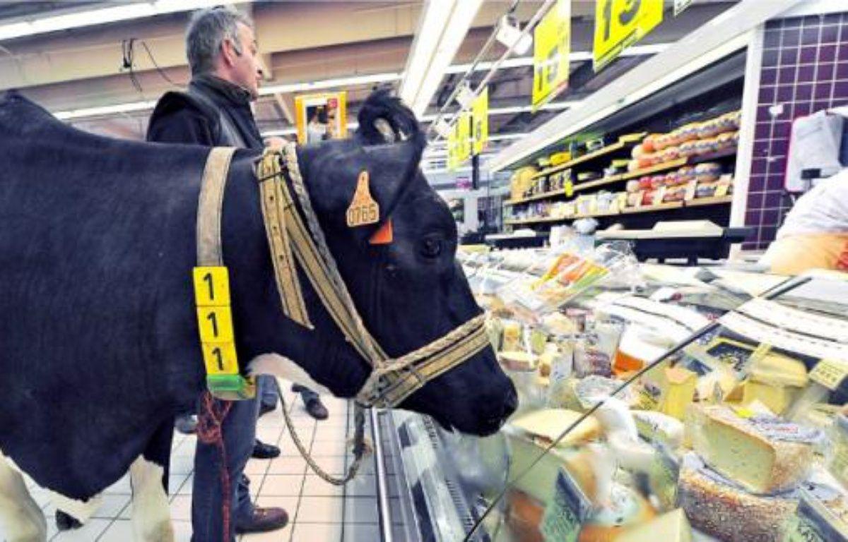 Un producteur proteste contre le prix du lait dans un supermarché de Lomme (Nord). –  P. HUGUEN / AFP
