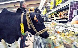 Un producteur proteste contre le prix du lait dans un supermarché de Lomme (Nord).