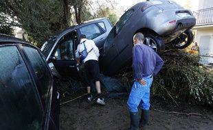 Dégâts à Biot (Alpes-Maritimes), après les inondations du 3 octobre 2015.