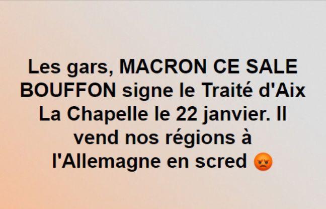 Un des posts alarmants relayés dans des groupes de « gilets jaunes » à propos du traité d'Aix-la-Chapelle.