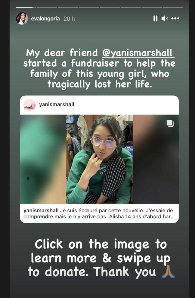 Eva Longoria a relayé un appel aux dons pour aider la famille d'Alisha.